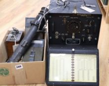 A collection of vintage military equipment, including a WWII British Tank Telescope Sight No. 33