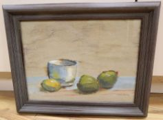 Continental School, mixed media on parchment paper, Still life, indistinctly signed, 28 x 37cm