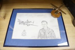 Royal Airforce Interest: A bronze model of a Beau Fighter, a framed drawing of a royal engineer