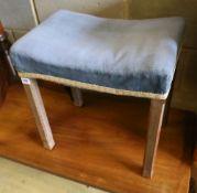 A George VI oak Coronation stool, width 46cm, depth 32cm, height 48cm