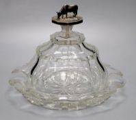 A Victorian cut glass cheese dish and cover with Dutch silver 'cow' finial, diameter 26cm