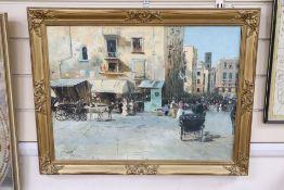 F. Pinelli, oil on board, Neapolitan street scene, signed, 39 x 52cm
