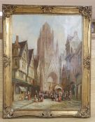 Henry Schafer (19th C.), oil on canvas, St Maclou, Rouen, Normandy, signed, 40 x 30cm
