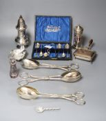 Silver plated ware including chafing dish, sugar caster, Apostle spoons with tongs, etc.