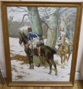 After William Barnes Wollen (1857-1936), oil on canvas, Hussars in woodland in winter, bears