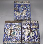 Three Persian pottery wall tiles, Qajar dynasty, relief-moulded with falconers on horseback, some