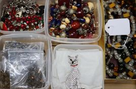 A large collection of costume jewellery, including two Butler & Wilson diamante cat brooches,
