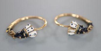 A pair of early 20th century Austro-Hungarian yellow metal and enamelled 'Blackamoor' loop earrings,
