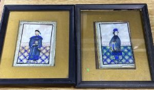 Two 19th century Cantonese pith paper paintings of figures, framed, 20 x 16cm