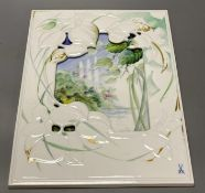 A Meissen photograph frame with inset painted plaque, signed, 35 x 25cmCONDITION: Good condition.