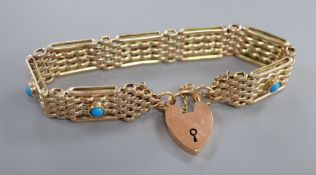 An early 20th century 9ct and seven stone turquoise set gatelink bracelet, approx. 18cm, gross 18.