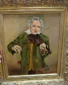 David Vivian, oil on canvas, The Fiddle Player, signed, 29 x 24cmCONDITION: Varnish perhaps a little