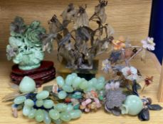 A group of hardstone grapes and floral displays and jadeite carvings