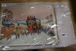 Savile Lumley (20th century), a set of four Victorian winter coaching scenes, signed, watercolour (