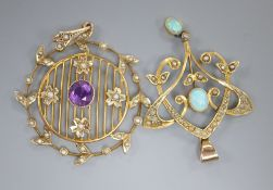 An Edwardian Art Nouveau yellow metal, white opal and seed pearl set drop pendant, 45mm gross 3.1
