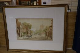 """Early 20th century English School, watercolour, """"Southover High Street, Lewes"""", 17 x"""