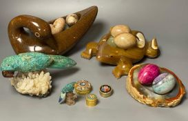 A Shona soapstone dish/duck containing eggs, a turquoise parrot on stand and various hardstone