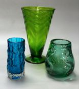 Three Whitefriars coloured glass vases, tallest 26cmCONDITION: Good condition.