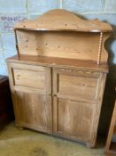 A Victorian and later pine chiffonier, width 115cmCONDITION: Raised back may well have been re-
