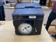 A Gledhill-Brook time recording clock, sheet iron case with carrying handles, 34cm wideCONDITION:
