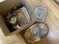 A silver sauce jug, a pair of Victorian plated entree dishes with covers and other plated