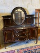 An Edwardian satinwood banded mahogany sideboard, with mirrored superstructure, width