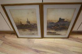 John Terris (1865-1914), pair of watercolours, Views of Windsor Castle and a riverside church,
