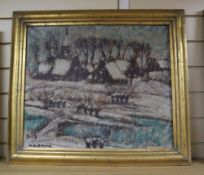 Alfons Blomme (1889-1979), oil on canvas, Sneeuw Dorp 1949, signed 46 x 54cmCONDITION: Original