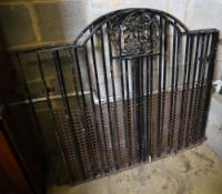 A pair of wrought iron gates, total width 234cm, height 112cm