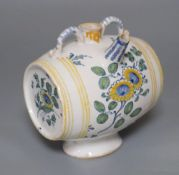 A 19th century French faience polychrome barrel shaped costrel, width 13cm