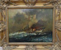 Kenneth Newton (1933-84), oil on canvas, German battleship Bismarck (1981), 34 x 44cmCONDITION: A