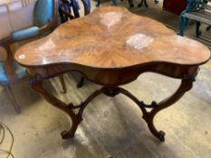 A Continental mahogany trefoil corner table, width 88cmCONDITION: Has bee repolished at some