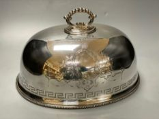 A silver plated engraved meat dome, width 33cmCONDITION: Good condition.