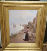 W. Richards (19th C.), oil on canvas, 'Awaiting the return of the fleet', signed, 40 x