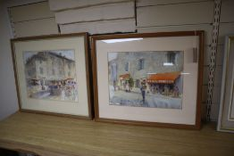 """Margaret Milnes (1908-1998), two watercolours, """"Mercerie Bonneterie"""" and """"Market at Albi"""", one"""