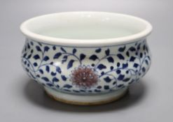 A Chinese underglaze blue and copper red censer, diameter 18cmCONDITION: Good condition.Some typical
