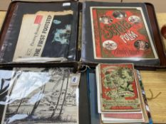 A collection of printed ephemera, including a folio of Victorian decorative sheet music covers, Carl