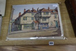James P. Power, 'Old Houses, Lewes, Sussex' and two similar topographical watercolours, 'High