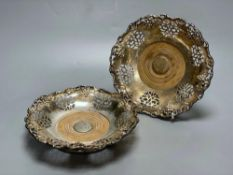 A pair of Victorian silver plated wine coasters, 20cmCONDITION: Structurally good, minor corrosion