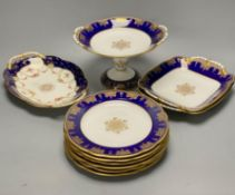 A Coalport bone china dessert service, pattern 8149 (18) and a Coalport two handled serving