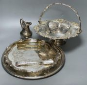 A silver plated cake basket, with cast border, diameter 31cm, two plated trays and three other