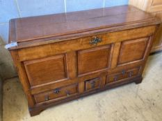 An oak mule chest (modified), width 128cmCONDITION: Old separation of the panel to the top door,