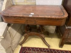 A Regency banded mahogany folding top card table, width 91cmCONDITION: Rather worn and damp damaged,