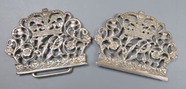 A late Victorian pierced silver Diamond jubilee commemorative nurses buckle, Birmingham, 1896, 10.