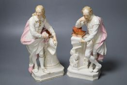 A pair of Derby figures, Shakespeare and Milton, early 19th century, height 25cmCONDITION: Bearded