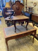 A Louis XVI style kingwood writing table, with central drawer, width 114cm and a Victorian