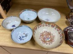 Five various 18th century Chinese export porcelain bowls, diameter of largest 29cmCONDITION: All