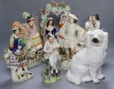 A collection of Staffordshire figures, including a flatback entitled 'Fortune Teller', height