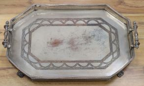 A plated two-handled gallery tray, width 65cmCONDITION: Surface scuffs and rubs, has worn the