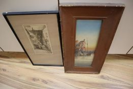 Garmen Morrish, watercolour, Whitby, 38 x 13cm and an etching by F. Robson, 26 x 13cmCONDITION: